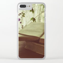 Still life with a pear and books Clear iPhone Case
