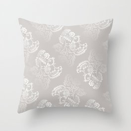 Light gray lace work pattern Throw Pillow