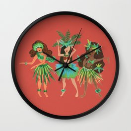 Luau Girls on Coral Wall Clock