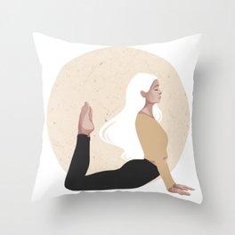 Yoga girl yellow I Throw Pillow