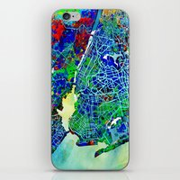 new york map iPhone & iPod Skins featuring new york new york map by Bekim ART