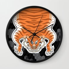 TIBETAN TIGER GOLDEN (black) Wall Clock
