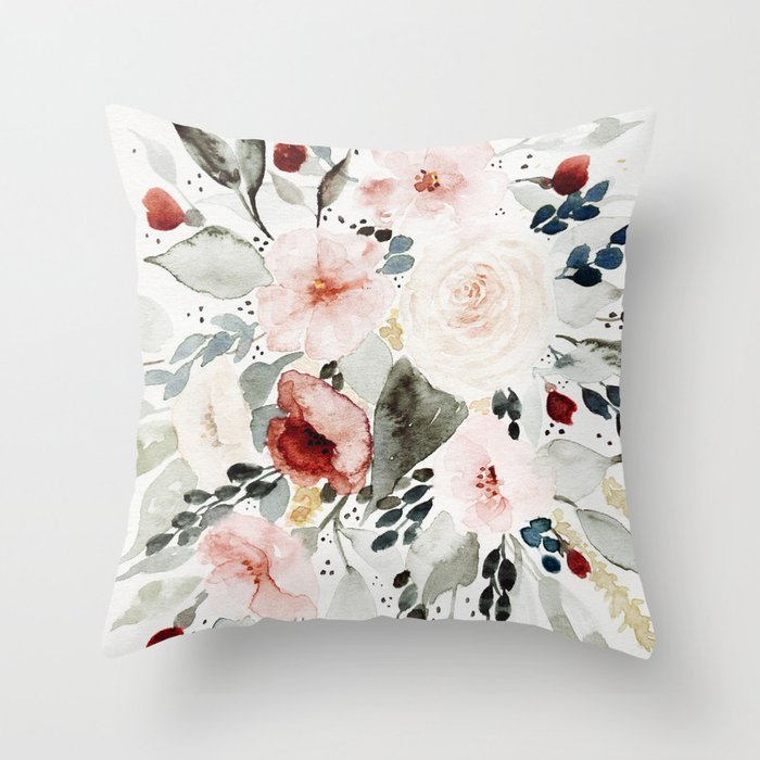 Loose Watercolor Bouquet Throw Pillow By Shealeenlouise Society6