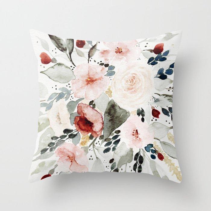 Loose Watercolor Bouquet Throw Pillow
