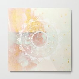 Precious white mandala on pink Metal Print