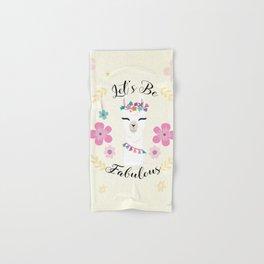 Cute alpaca with flowers - let's be fabulous - boho llama Hand & Bath Towel