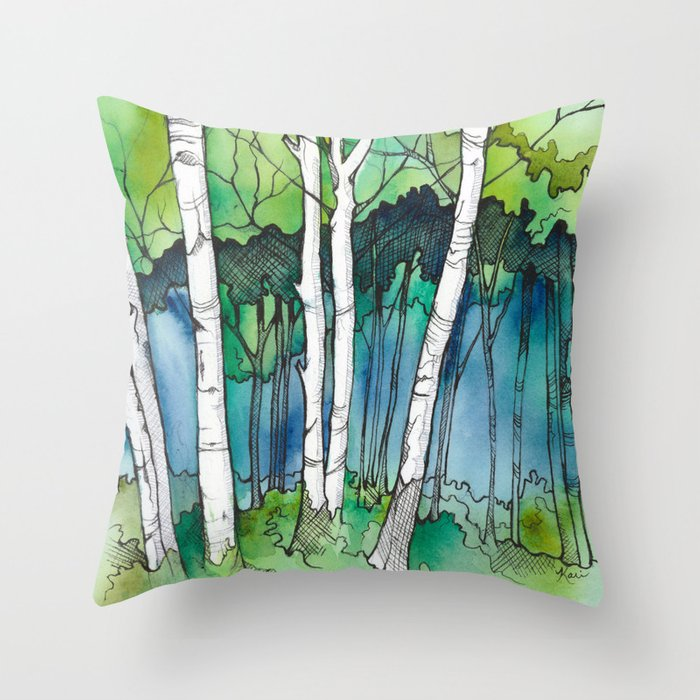 Birch Trees Ii Throw Pillow By Karigale Society6