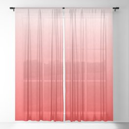 White to Pink Ombre Flames Sheer Curtain