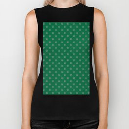 Cotton Candy Pink on Cadmium Green Snowflakes Biker Tank