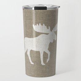 White Moose Silhouette Travel Mug
