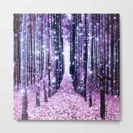 Magical Forest Path Lavender Pink Periwinkle Metal Print