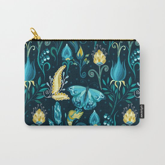 Floral blue pattern with butterfly Carry-All Pouch