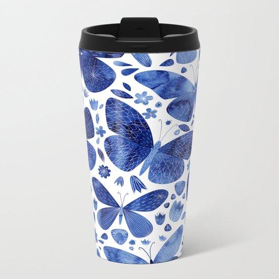 Blue Butterflies Metal Travel Mug