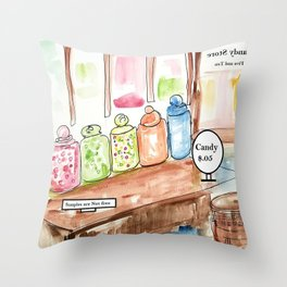 Candy Store Vintage Throw Pillow