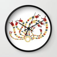 hydra Wall Clocks featuring LERNAEAN HYDRA by Villie Karabatzia