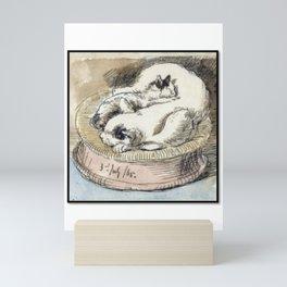 Mama Cat with Kitten in a Wicker Basket Mini Art Print