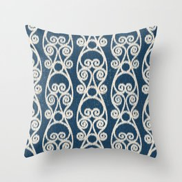 Crackled Scrolled Ikat Pattern - Navy Cream Throw Pillow