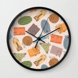 Geometric Zoo Animals Wall Clock