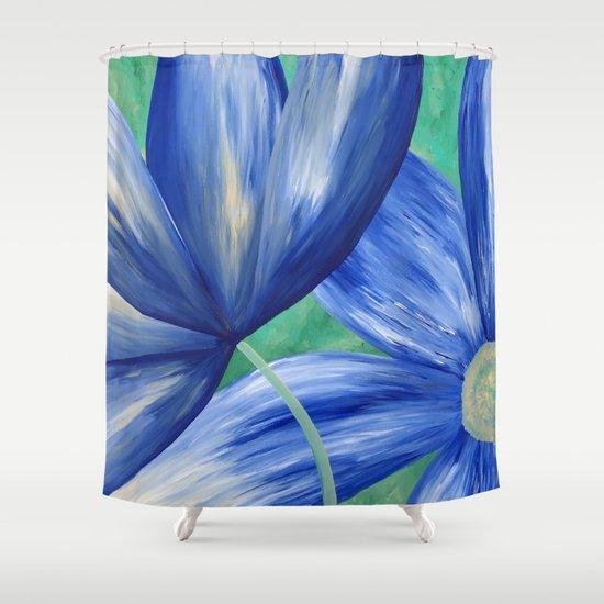 Large Blue Flowers Shower Curtain