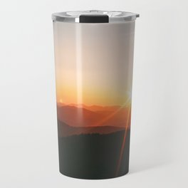Yellow Orange Mountain Parallax Sunrise Landscape Travel Mug