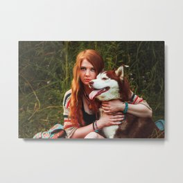 Red haired girl and husky dog boho photography summer vibes Metal Print