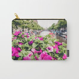 Pink Amsterdam Flowers above Canal | Europe Travel City Urban Landscape Photography Carry-All Pouch
