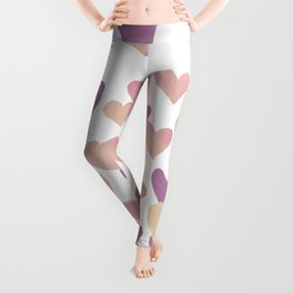 Valentine's Day Watercolor Hearts - pastel pink Leggings