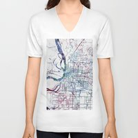 memphis V-neck T-shirts featuring Memphis map by MapMapMaps.Watercolors