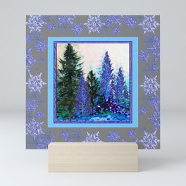 GREY WINTER SNOWFLAKE  CRYSTALS FOREST ART Mini Art Print