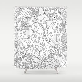 Sketchbook drawing (Black on White) Shower Curtain