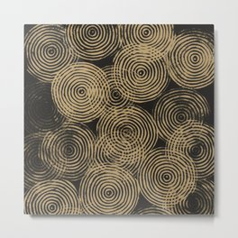 Radial Block Print in Charcoal and Gold Metal Print