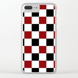 Black White Red Checker Clear iPhone Case