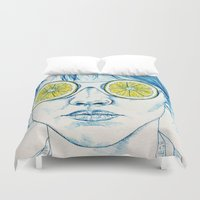 lady Duvet Covers featuring Lemon Lady by KatePowellArt