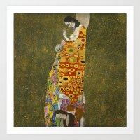 gustav klimt Art Prints featuring Hope II by Gustav Klimt  by Palazzo Art Gallery