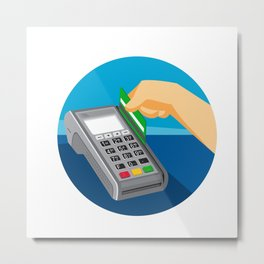 Hand Swiping Credit Card on POS Terminal Retro Metal Print