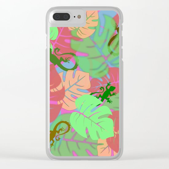 Monstera and Lizards (Retro Pink) Clear iPhone Case