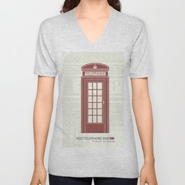 figure of a red telephone booth in England Unisex V-Neck