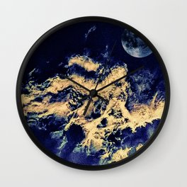 blue moon and clouded night sky Wall Clock
