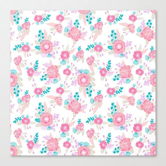 Florals bright modern color palette nursery home decor flower bouquet pattern Canvas Print