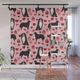 Bernese Mountain Dog custom valentines day gift for dog lover pet art love dogs Wall Mural