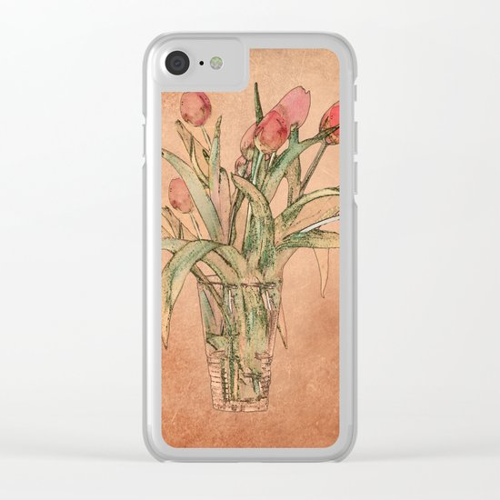 Vintage tulips Clear iPhone Case
