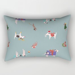 Happy Christmas Dogs Rectangular Pillow