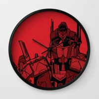 optimus prime Wall Clocks featuring Transformers: Optimus Prime by Skullmuffins