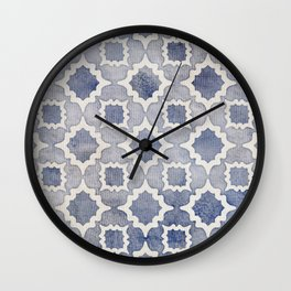 Worn & Faded Navy Denim Moroccan Pattern in grey blue & white Wall Clock