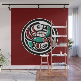Northwest Pacific coast Otter chasing Salmon Wall Mural