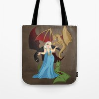 mother of dragons Tote Bags featuring Mother of Dragons by Danielle Gransaull