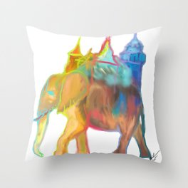 Elephant Carrying the Castle Throw Pillow