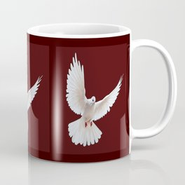 Dark Chocolate Colored Design of Flying White Peace Dove Bird Coffee Mug
