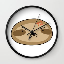 Angry Sloth Face Wall Clock