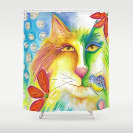 Cat abstract bird Original Painting Deb Harvey art Fevrier Chat  Shower Curtain